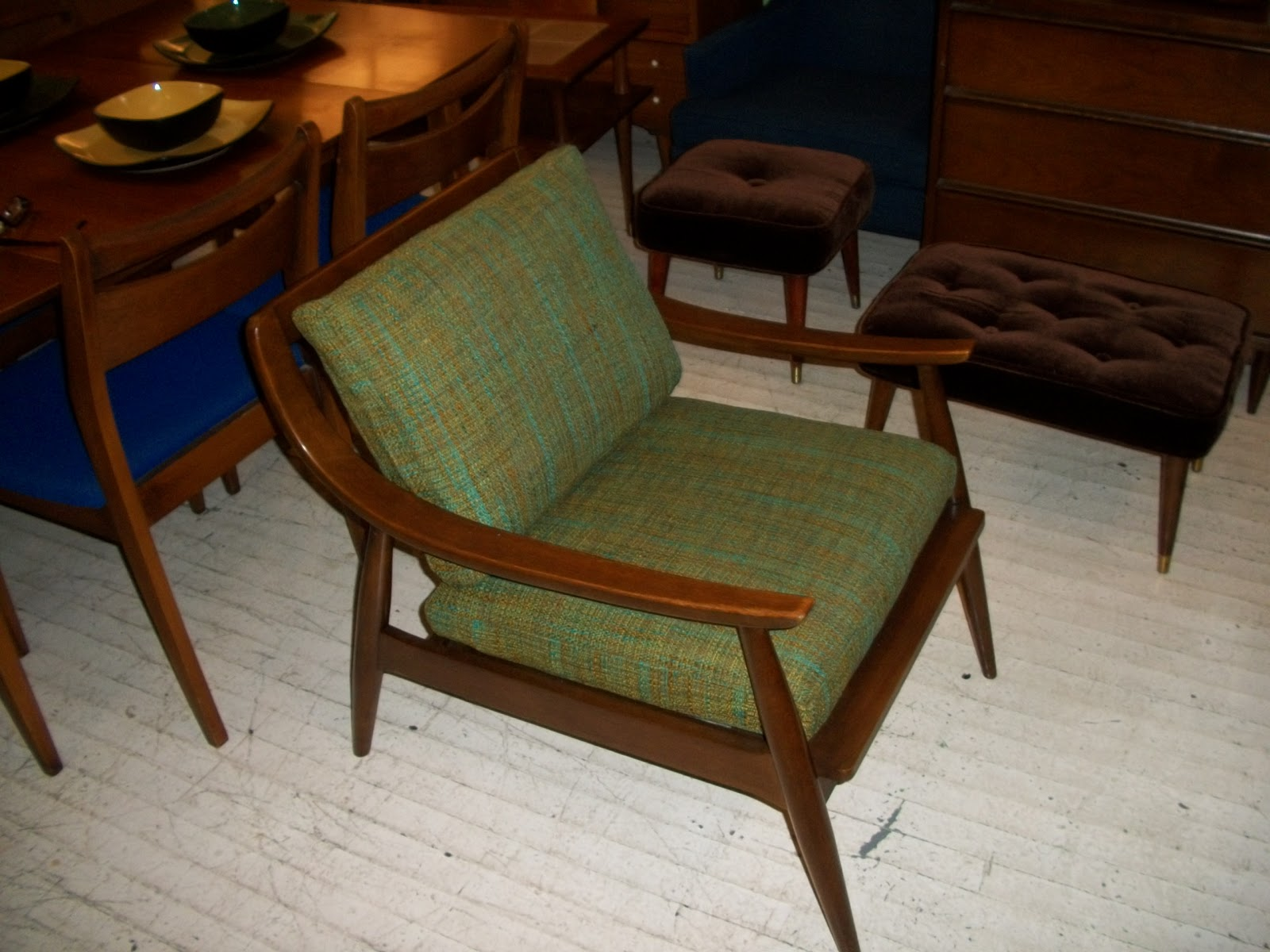 Walnut Mid Century Modern Danish Lounge Chair An Orange