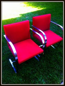 "Pair of Red ""BRNO"" Chrome Chairs"