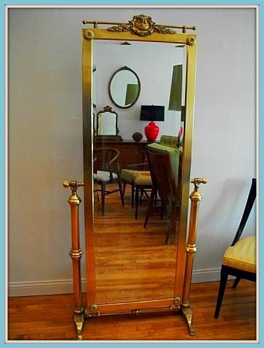Vintage Brass Cheval Mirror