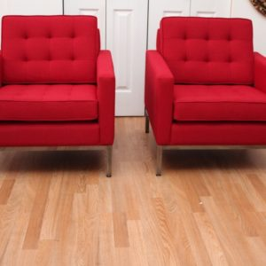 Pair of Red Steelcase Lounge Chairs