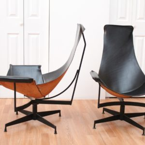 William Katavolos Pair of Black Leather Sling Chairs.