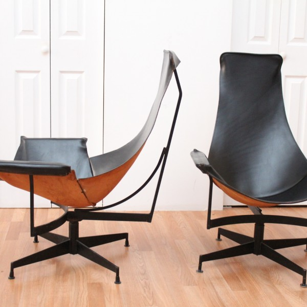 william katavolos pair of black leather sling chairs