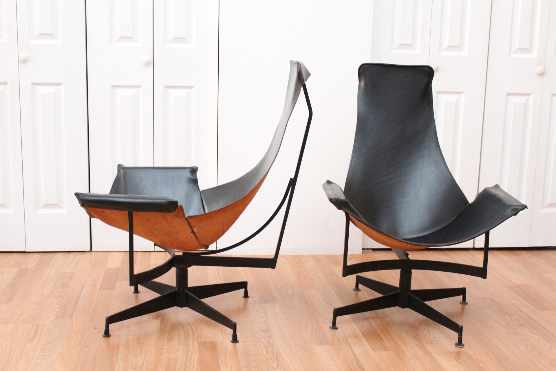 Katavolos Pair of Black Leather Sling Chairs