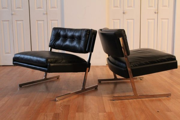 Harvey Probber Pair Black Leather Chairs