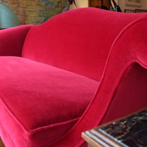 English Chippendale Velvet CamelBack Sofa