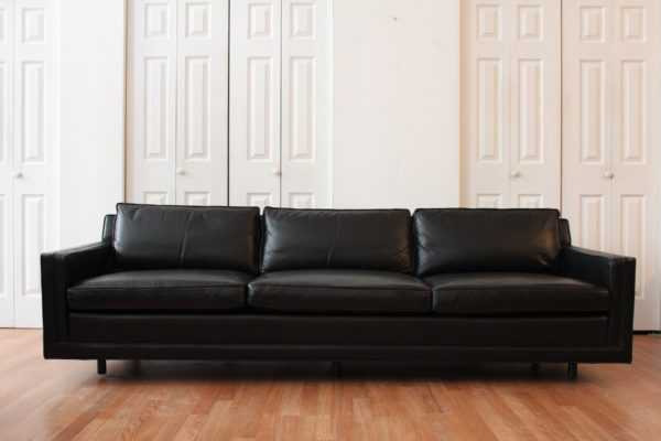 Harvey Probber Black Leather Sofa