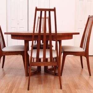 Henry P Glass for Richbilt Furniture Walnut Octagonal Dining set & 4 Chairs