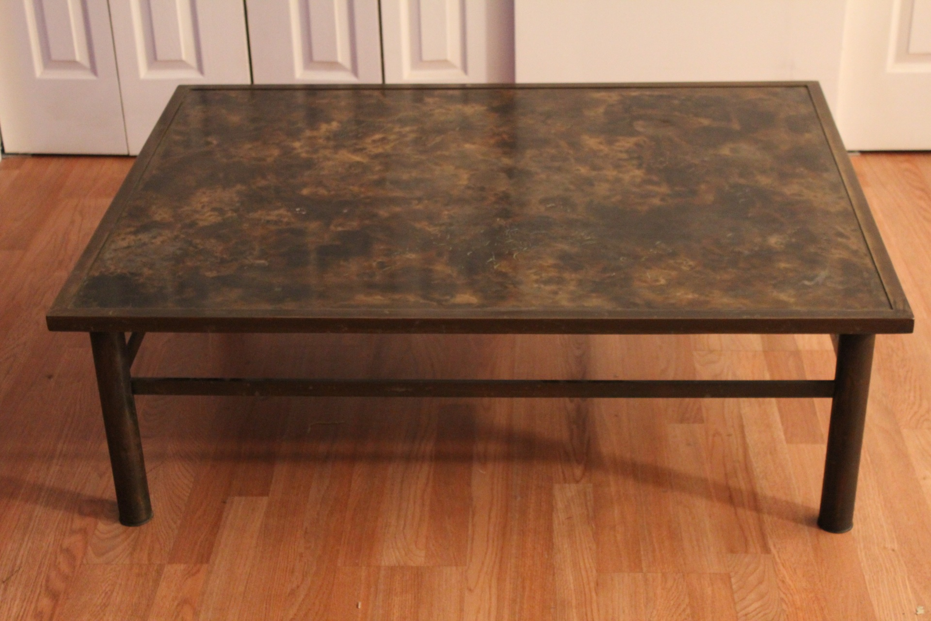 Philip Laverne Coffee Table.Philip Kelvin Laverne Etched Brass Coffeetable