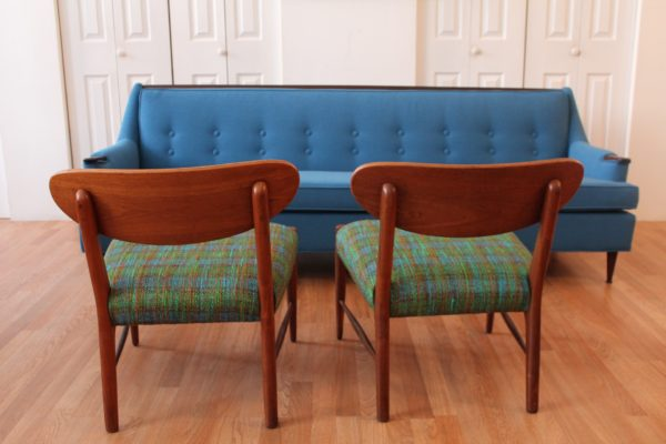 "Adrian Pearsall Vintage ""True Blue-Green Plaid"" Chair"