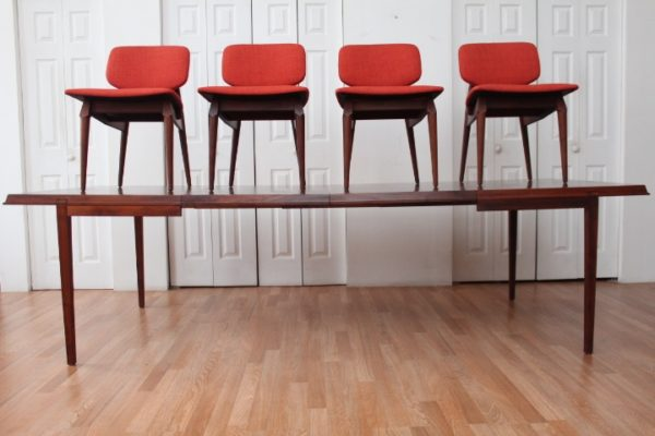 Milo Baughman for Glenn of California Dining Table & 4 Mid Century Modern Chairs
