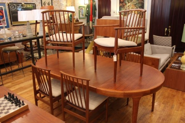 I B KOFOD-LARSEN and 6 SYLVE STENQUIST DINING CHAIRS for DUX