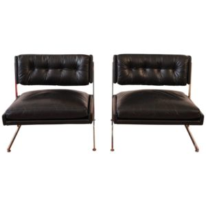 Harvey Probber Chairs Pair Black Leather