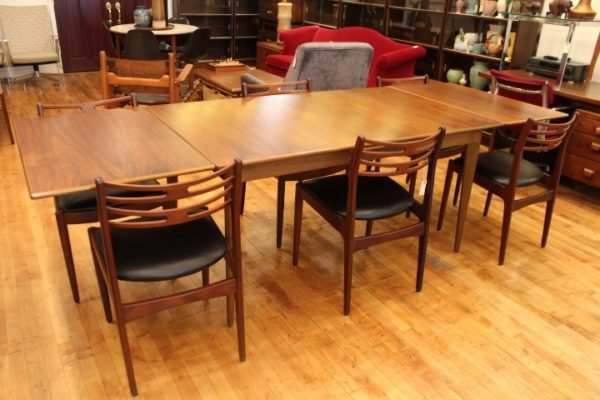 Johannes Andersen Walnut Dining Room Table and 6 Chairs