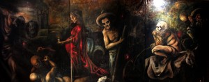 Mix Media Oil on Canvas triptych painting Lead