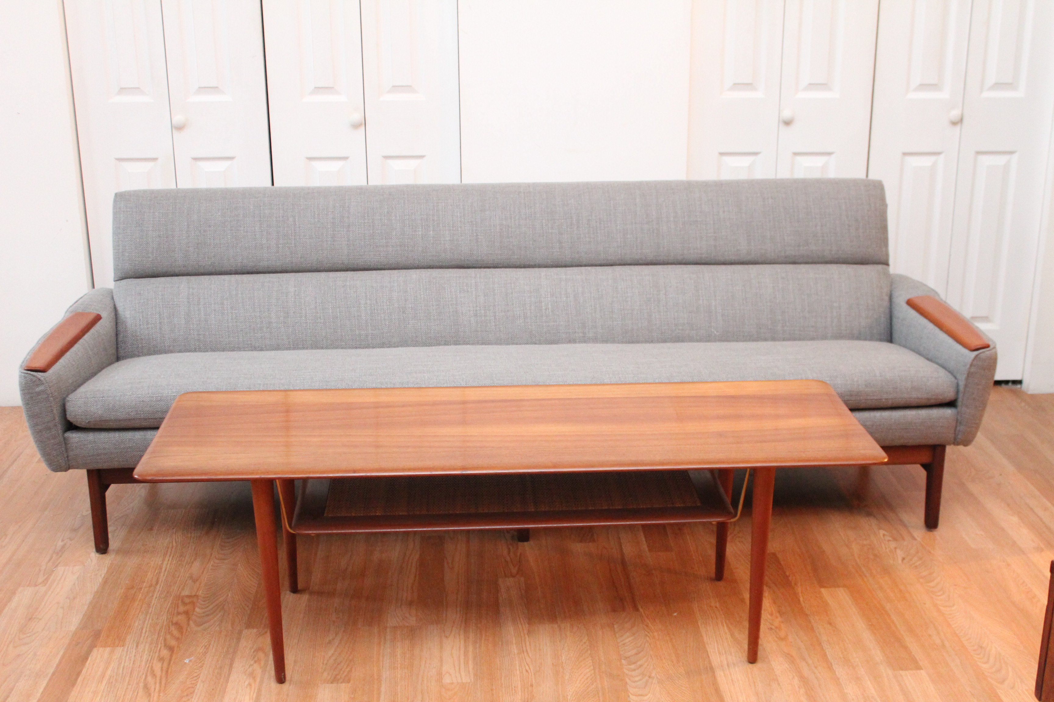 Mid century modern danish sofa with teak armrests an for Danish design sofa