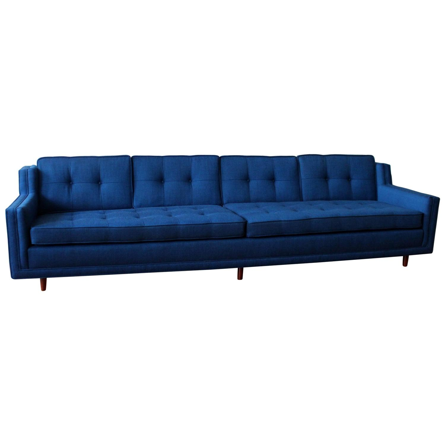 Blue mid century modern low slung nemschoff sofa an for Modern love seats