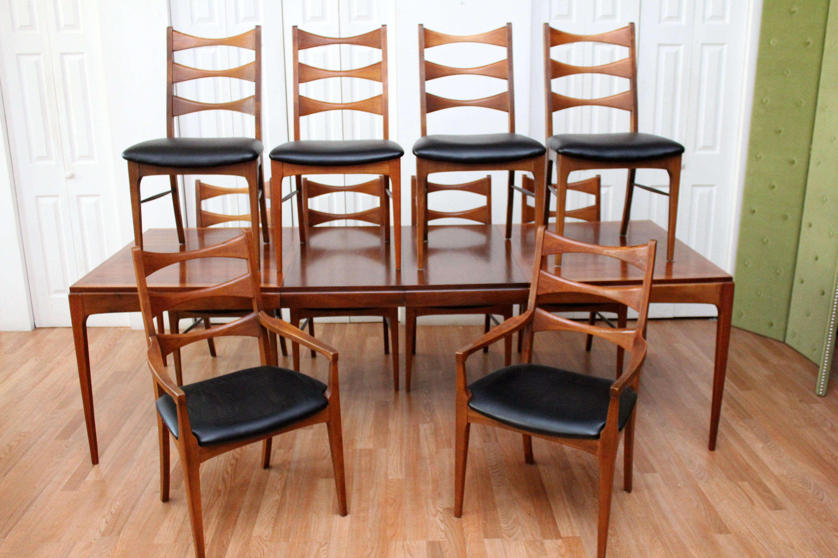 dining room table and chair sets lane walnut dining room table ten chairs 6286
