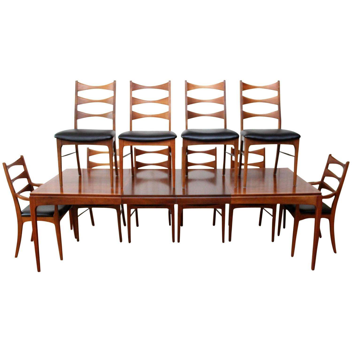 Lane Walnut Dining Room Table Ten Chairs