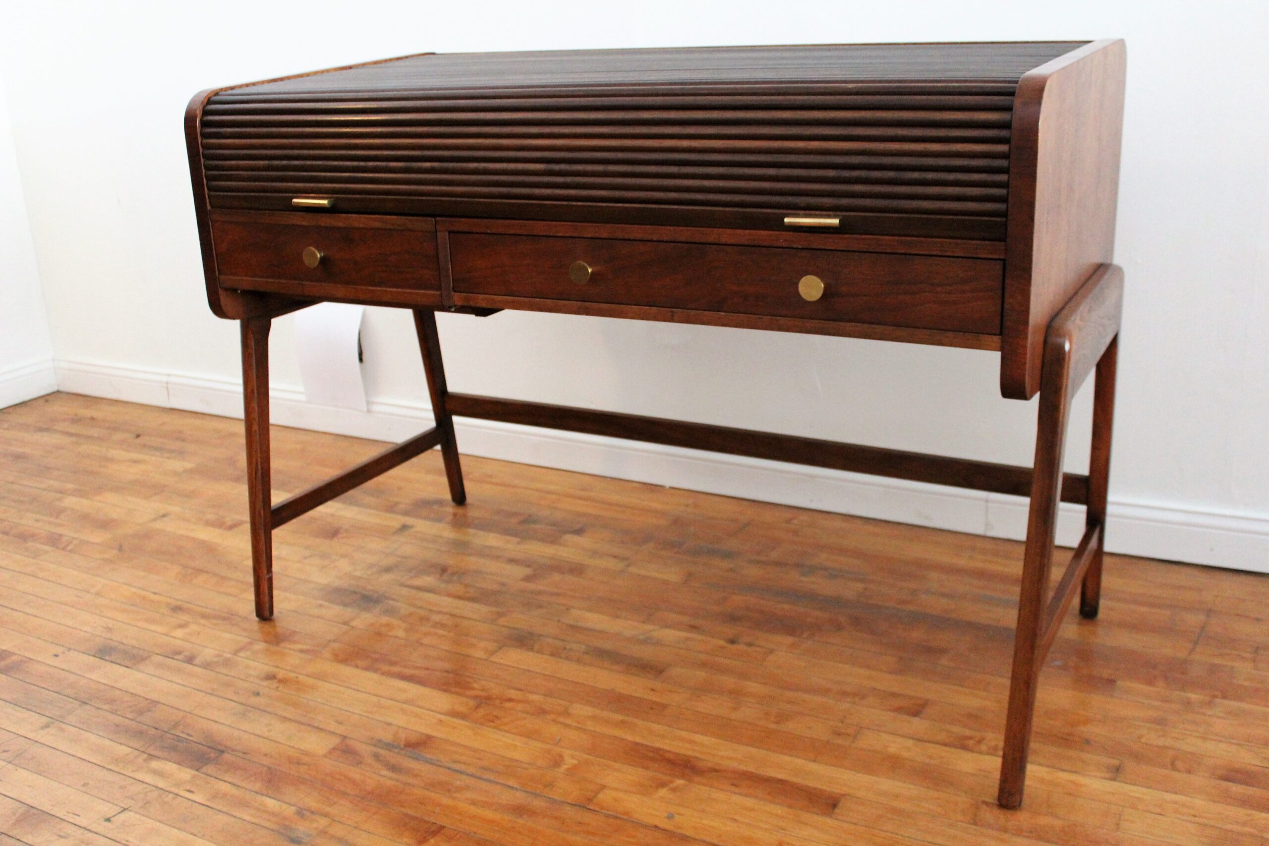 Sligh Lowry Vintage Mid Century Modern Walnut Roll Top Desk An Orange Moon Mid Century Modern Antiques Vintage Furniture Chicago