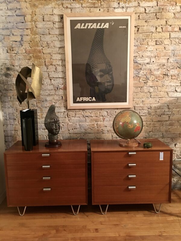 George Nelson Design Herman Miller Four Drawer Chest Hairpin Legs Metal Handles